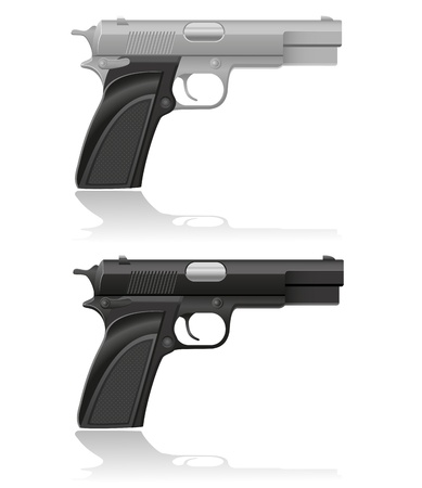 machine gun: silver and black automatic pistol vector illustration isolated on white background