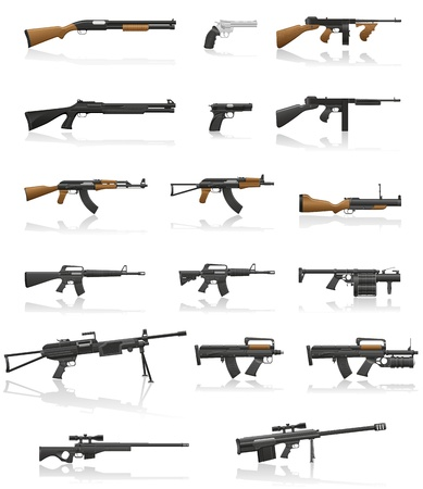 machine gun: weapon and gun set collection icons vector illustration isolated on white background Stock Photo