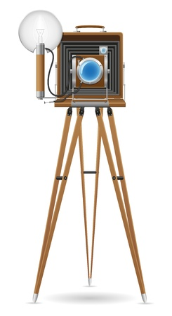 old photograph: old camera photo vector illustration isolated on white background Stock Photo