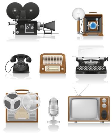 vintage and old art equipment set icons video photo phone recording tv radio writing vector illustration isolated on white background illustration