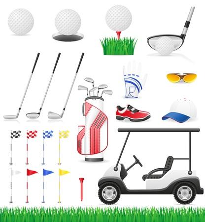 golf cart: set golf icons illustration isolated on white background Stock Photo