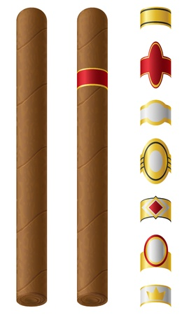 smoulder: cigar labels for them isolated on white background