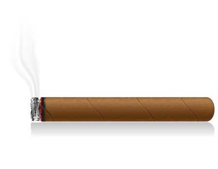 smoulder: burning cigar isolated on white background