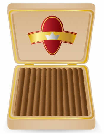 cuban cigar: cigars in a box isolated on white background