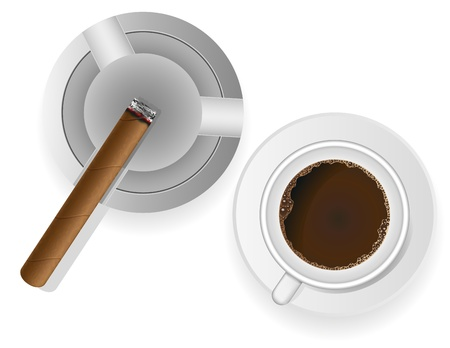 smoulder: burning cigar in an ashtray and coffee isolated on white background