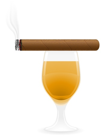 cuban cigar: cigar and alcoholic drinks isolated on white background