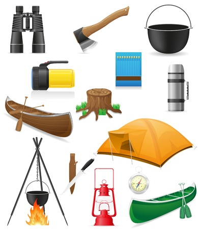 fire wood: set icons items for outdoor recreation illustration isolated on white background Stock Photo