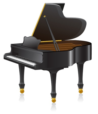 black piano: piano vector illustration isolated on white background