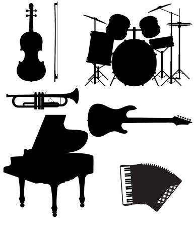 tambor: Fije los iconos siluetas de instrumentos musicales ilustración vectorial aislados en fondo blanco