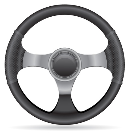 vector wheel: car steering wheel vector illustration isolated on white background