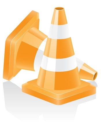 icon traffic cone illustration isolated on white background Vector