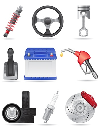set icons of car parts illustration isolated on white background Vector
