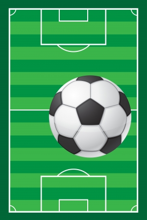 kick out: football soccer stadiun field and ball illustration