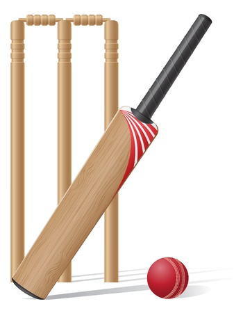 set equipment for cricket illustration isolated on white background