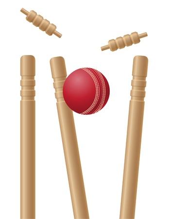 cricet wickets en bal geïsoleerd op een witte achtergrond Stockfoto