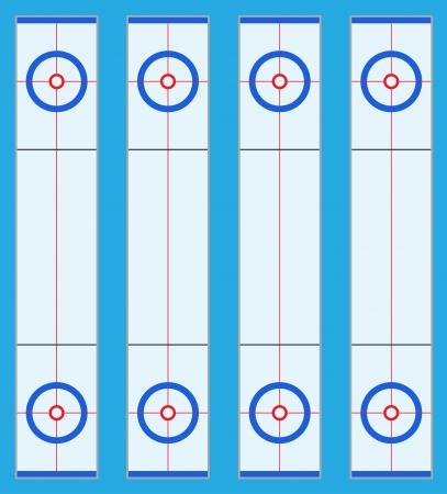 ice slide: playground for curling sport game illustration