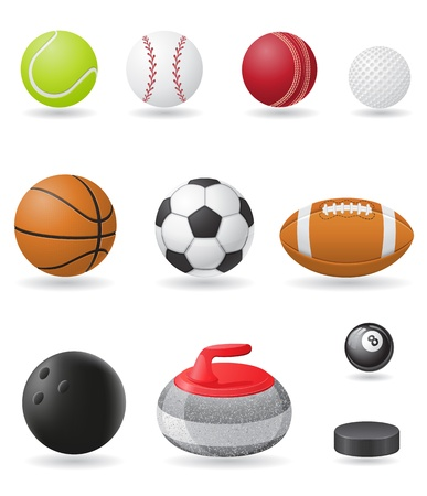 bowling ball: set icons sport balls vector illustration isolated on white background