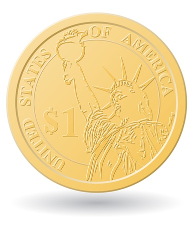 one dollar coin vector illustration isolated on white background Stock Illustration - 21215620