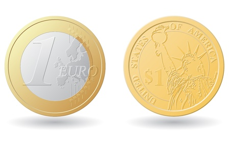 one euro and dollar coins vector illustration isolated on white background Stock Illustration - 21212804