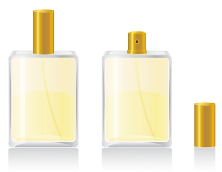 crystalline gold: perfumes in bottle illustration isolated on white background Stock Photo
