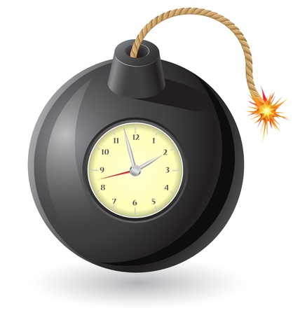 explosive watch: black bomb with a burning fuse and clockwork illustration isolated on white background