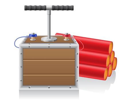detonating: detonating fuse and dynamite illustration isolated on white background Stock Photo