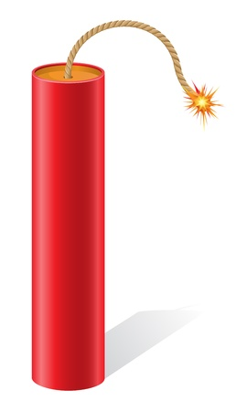 petard: explosive dynamite with a burning fuse illustration isolated on white background