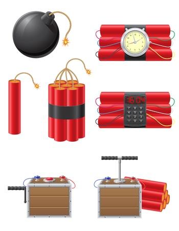 detonating: set icons detonating fuse and dynamite illustration isolated on white background Stock Photo