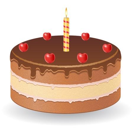 impregnated: torta al cioccolato con ciliegie e masterizzazione candela illustrazione vettoriale isolato su sfondo bianco Archivio Fotografico