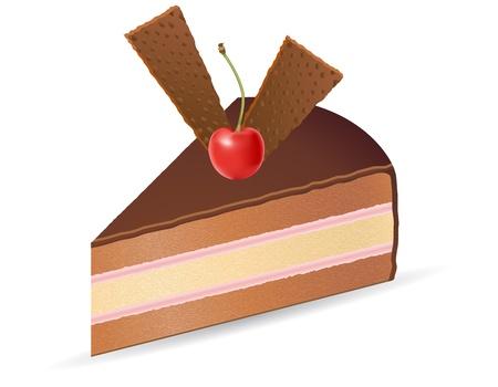 impregnated: pezzo di torta al cioccolato con ciliegie vettoriale illustrazione isolato su sfondo bianco