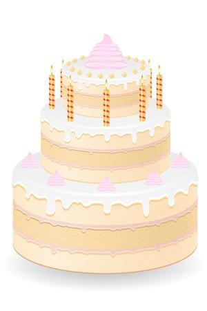 cake with burning candles vector illustration isolated on white background Stock Illustration - 21658861