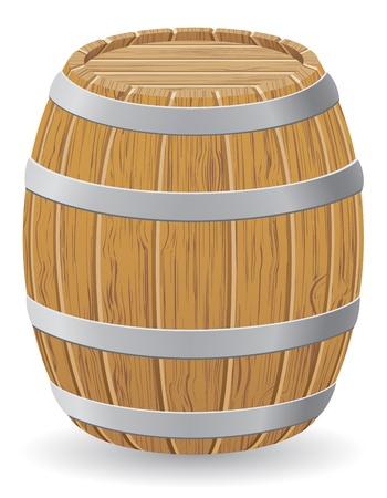 hogshead: wooden barrel illustration isolated on white background Stock Photo