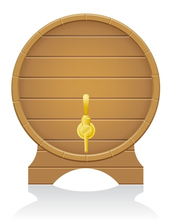 beer barrel: wooden barrel illustration isolated on white background Stock Photo