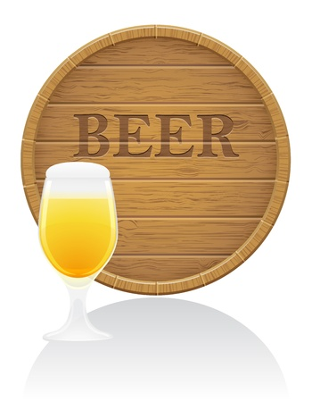 hogshead: wooden beer barrel and glass illustration isolated on white background