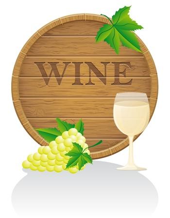 hogshead: wooden wine barrel and glass illustration isolated on white background