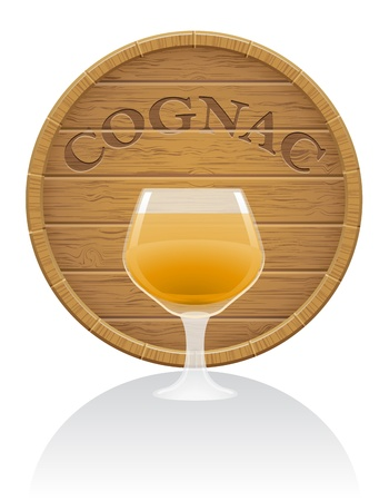 hogshead: wooden cognac barrel and glass illustration isolated on white background Stock Photo