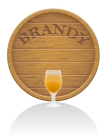 hogshead: wooden brandy barrel and glass illustration isolated on white background Stock Photo