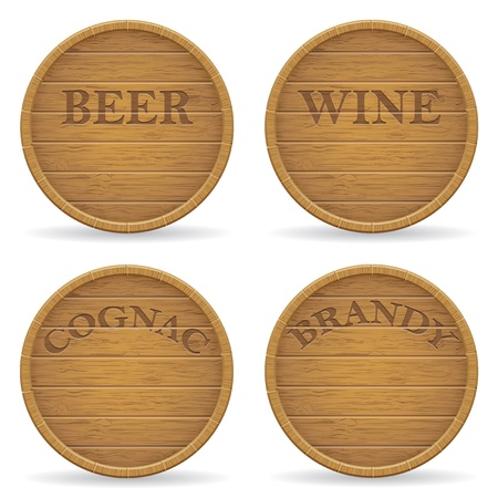 hogshead: set wooden barrel illustration isolated on white background