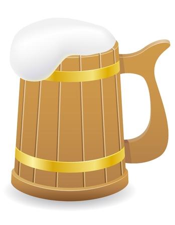 wet wood: wooden beer mug illustration illustration isolated on  background Stock Photo