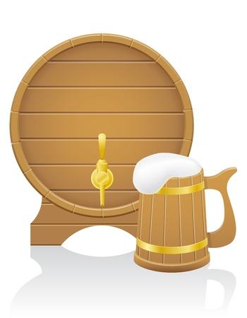 hogshead: wooden beer barrel and mug illustration isolated on white background Stock Photo