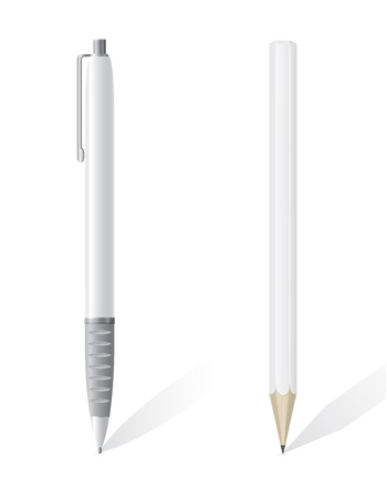 white blank pencil and pen vector illustration isolated on background Stock Illustration - 22138365
