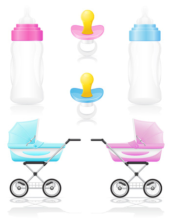 baby carriage: set icons perambulator bottle pacifier pink and blue illustration isolated on white background