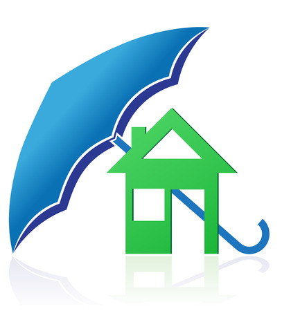 house with umbrella concept illustration isolated on white background illustration