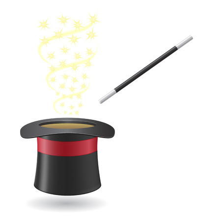 magic hat: magic wand and cylinder hat illustration isolated on white background
