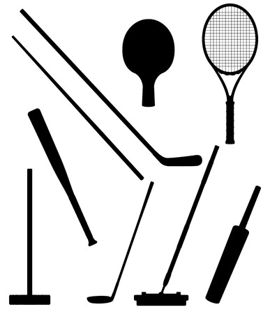 racket: bits and stick to sports black silhouette illustration isolated on white background