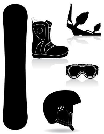 set icons equipment for snowboarding black silhouette illustration isolated on white background illustration