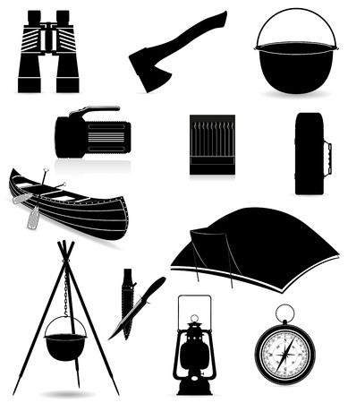 set icons items for outdoor recreation black silhouette illustration isolated on white background illustration