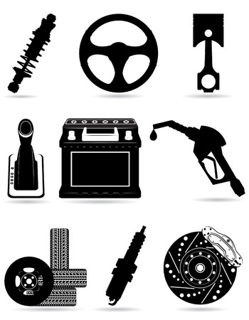 set icons of car parts black silhouette illustration isolated on white background illustration