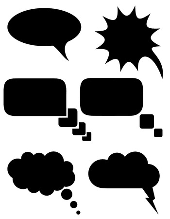 set icons speech bubbles dreams black silhouette illustration isolated on white background illustration