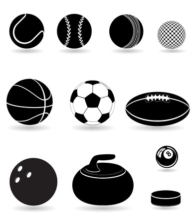 cricket: set icons sport balls black silhouette illustration isolated on white background Stock Photo